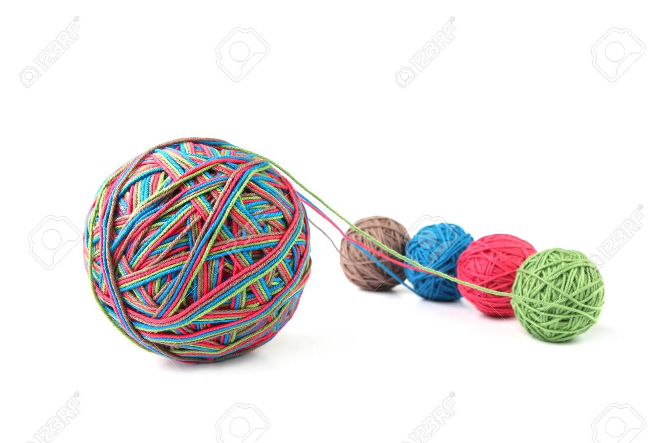 Colorful cotton big thread ball from four color thread isolated on white background. Different color pink, green, grey, blue thread mix. - 120286942