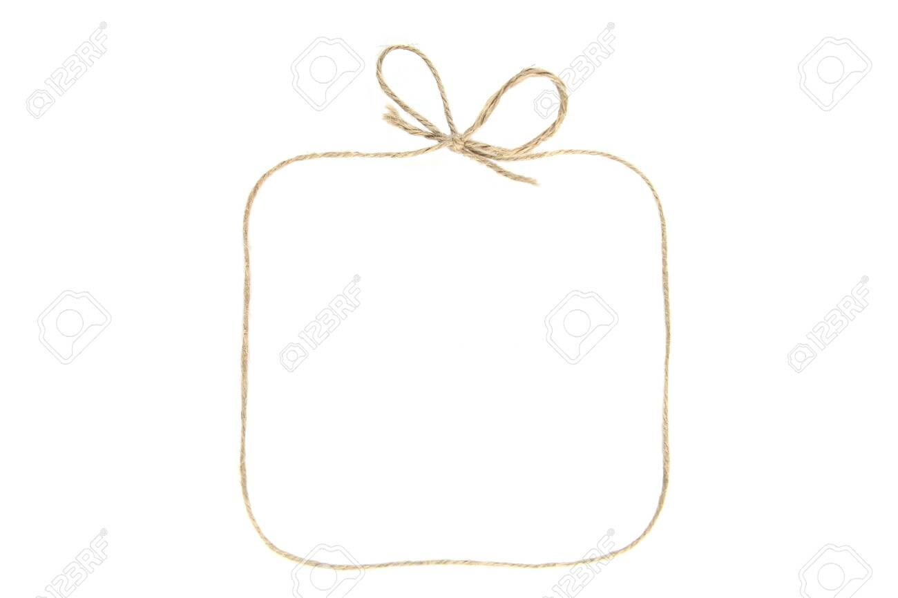 Rectangular frame with bow as gift box made of string isolated on white background. Empty frame made of linen twine or rope. - 123397146