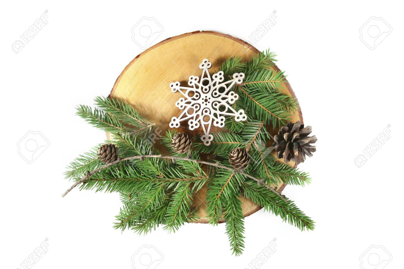 Serving Wood Tray With Decorative Snowflake Fir Branches And Stock Photo Picture And Royalty Free Image Image 136586287