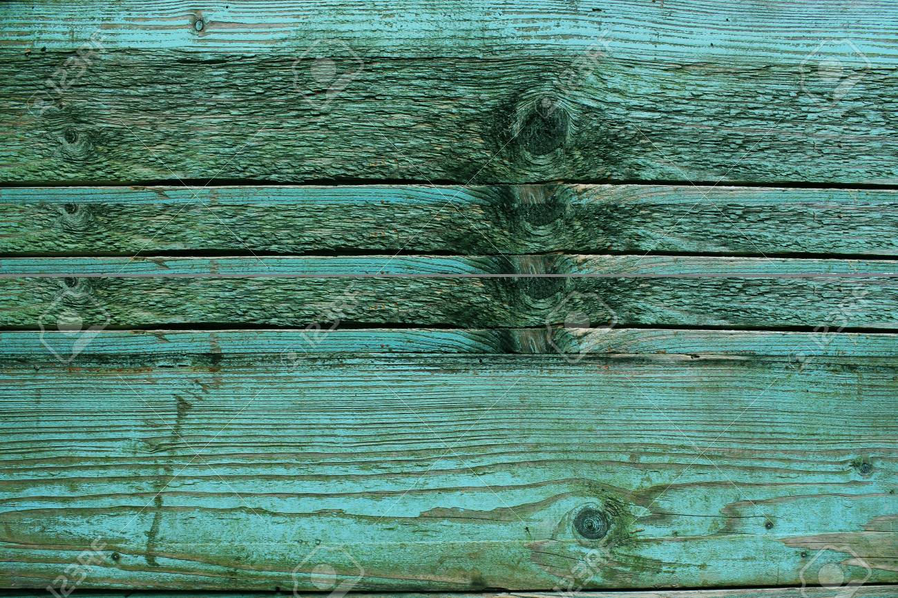 Old Rustic Wooden Planks Painted In Turquoise Color Backgrounds Concept Stock Photo
