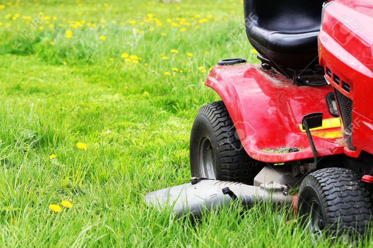 Gardener driving a riding lawn mower in a garden . Cutting grass - 146673371