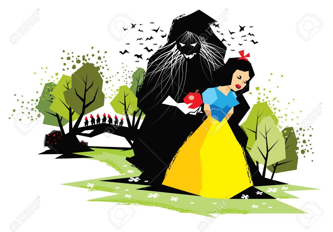 邪悪な魔女とおとぎ話白雪姫の図