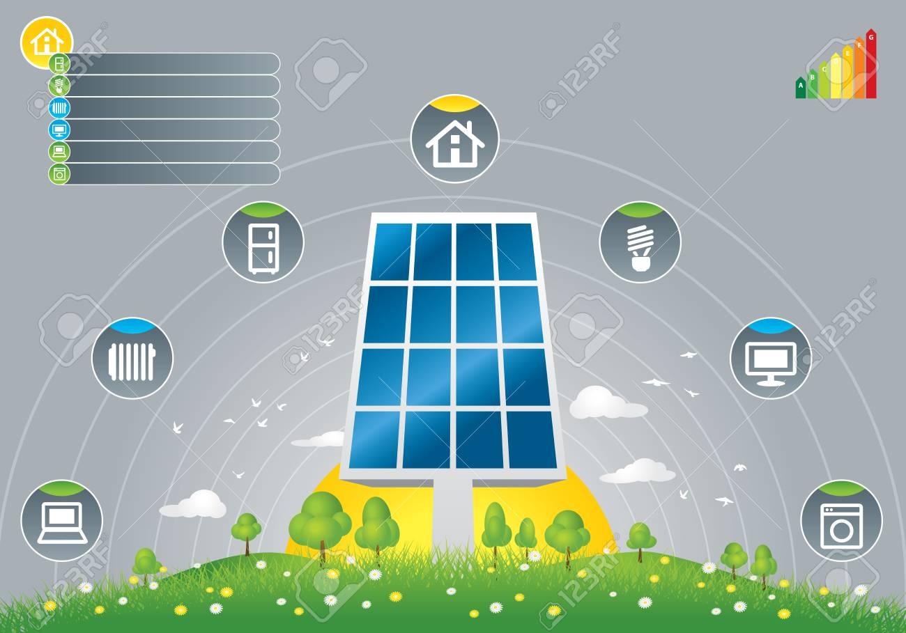 効率的なエコ太陽光パネル緊急のイラストのイラスト素材ベクタ Image