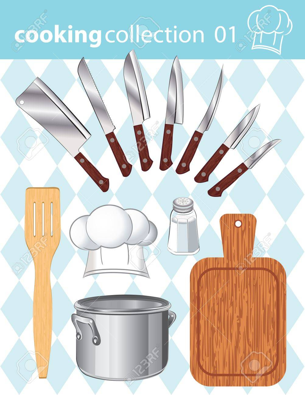 Vector collection of kitchen and cooking tools on the background Stock Vector - 12042594