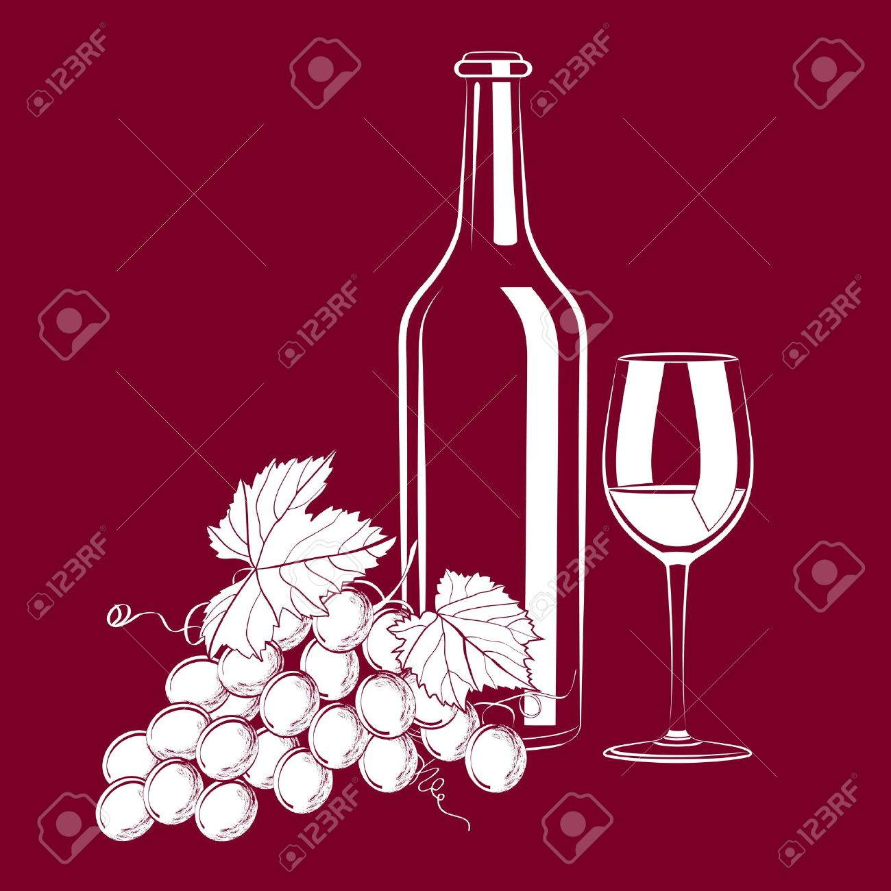 illustration of vintage still life with a glass, a bottle of wine and grapes Stock Vector - 14073882