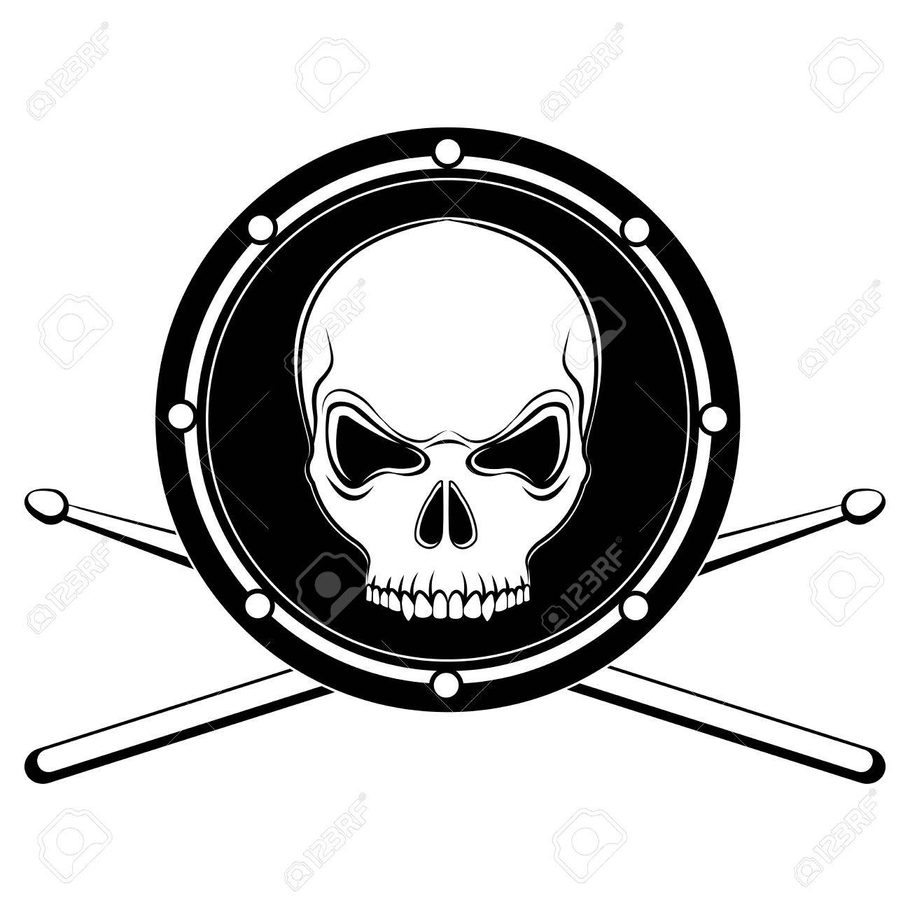 jolly Roger drum skull with drumsticks isolated on white background Stock Vector - 14073835