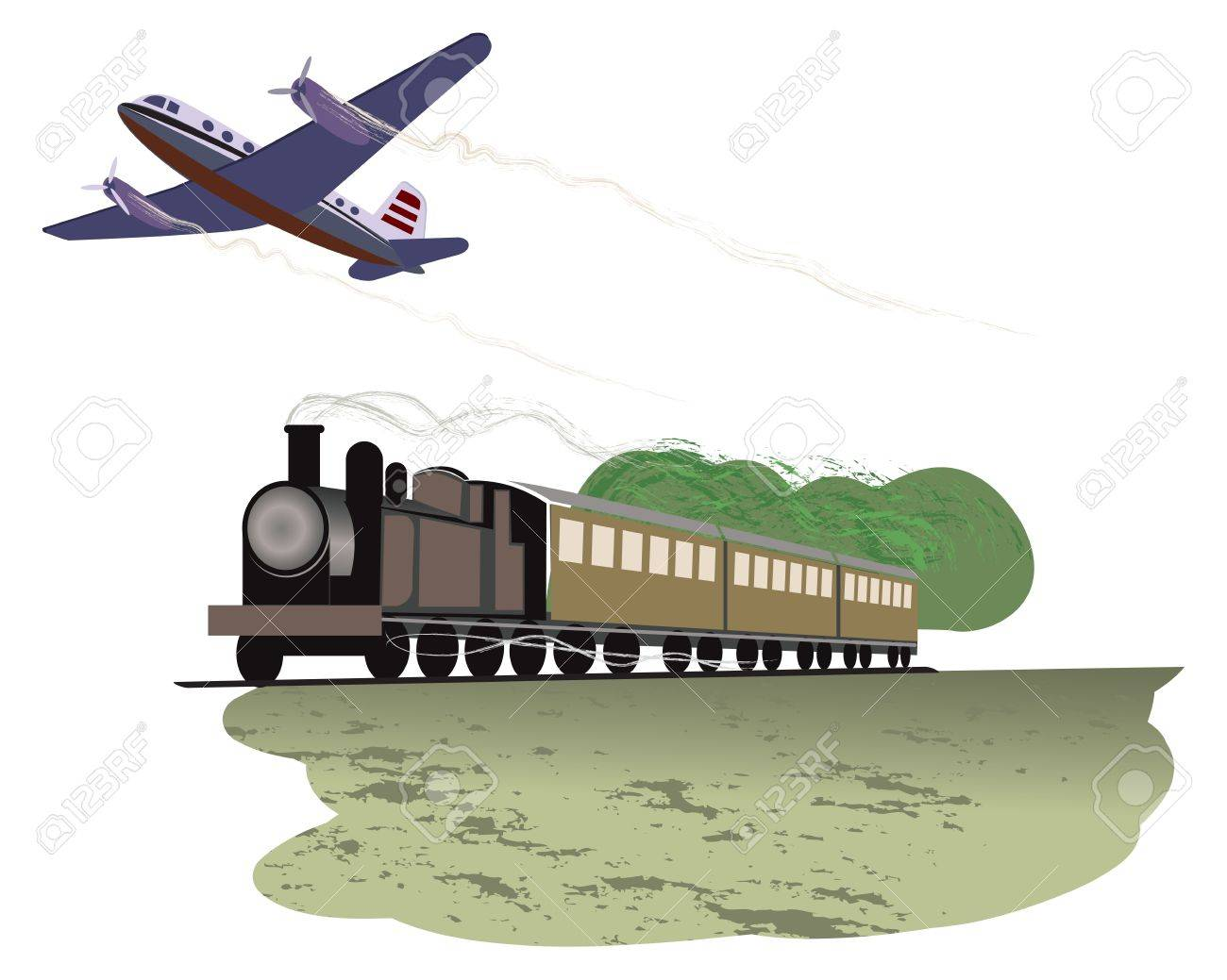 illustration of travel by train and plane Stock Vector - 14073868