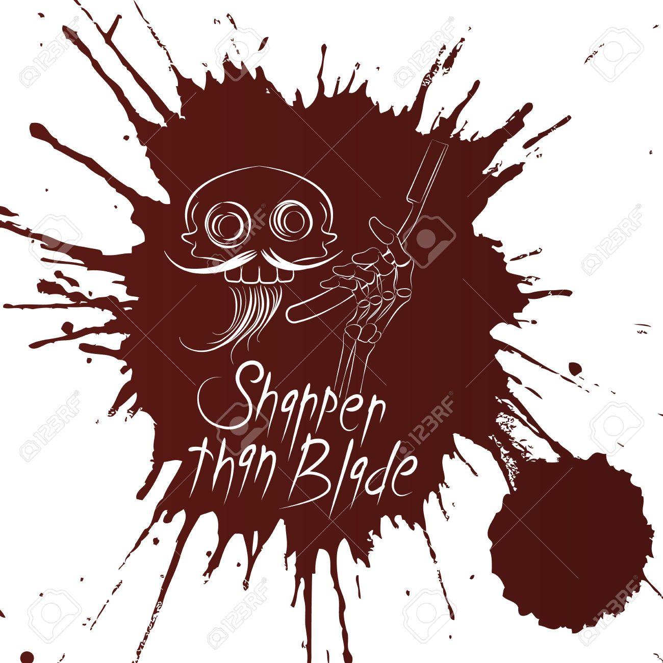 Skull Barber Tshirt Design On The Blood Background Royalty Free