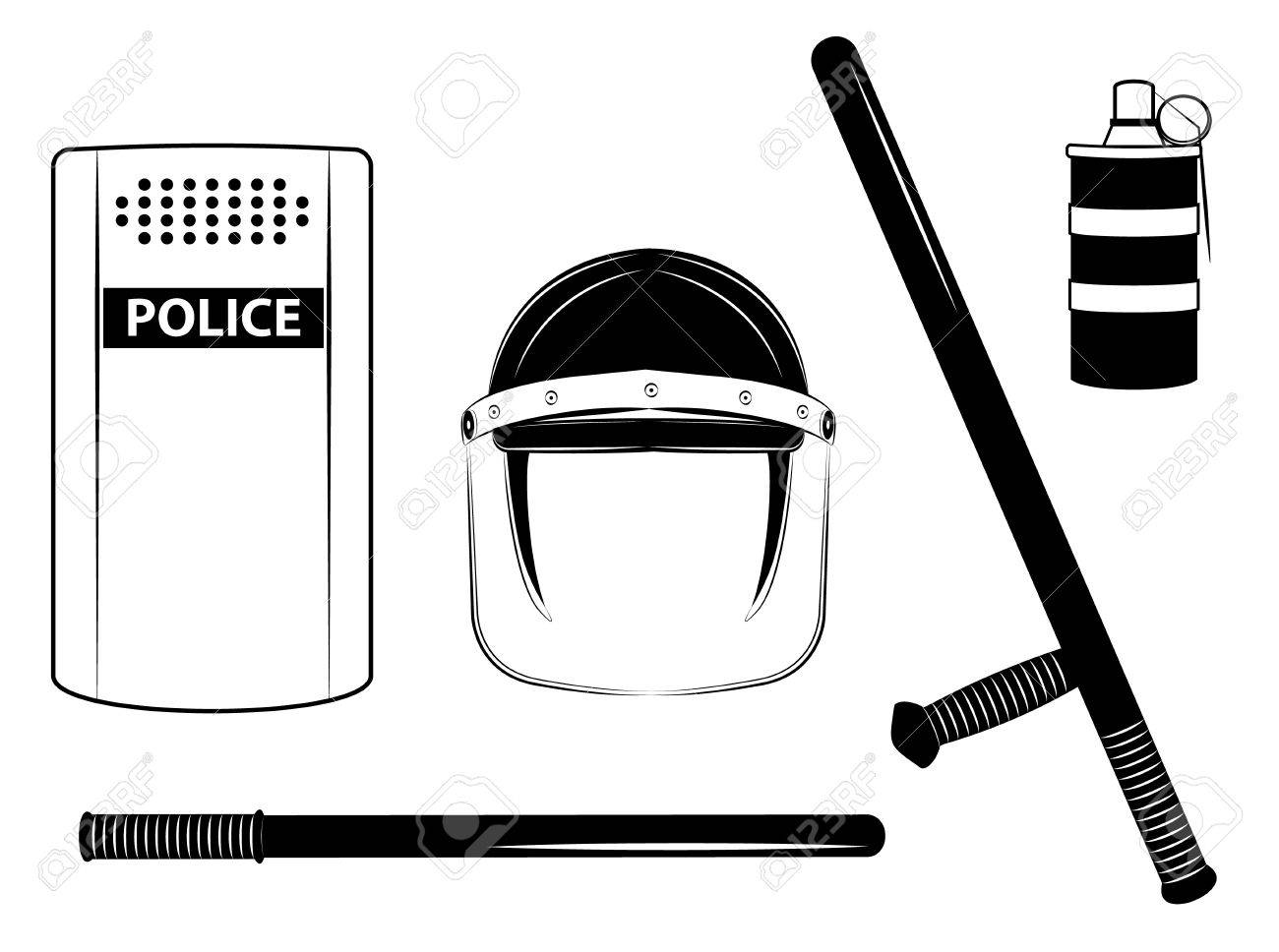 One color  police set isolated on the white background Stock Vector - 16832277