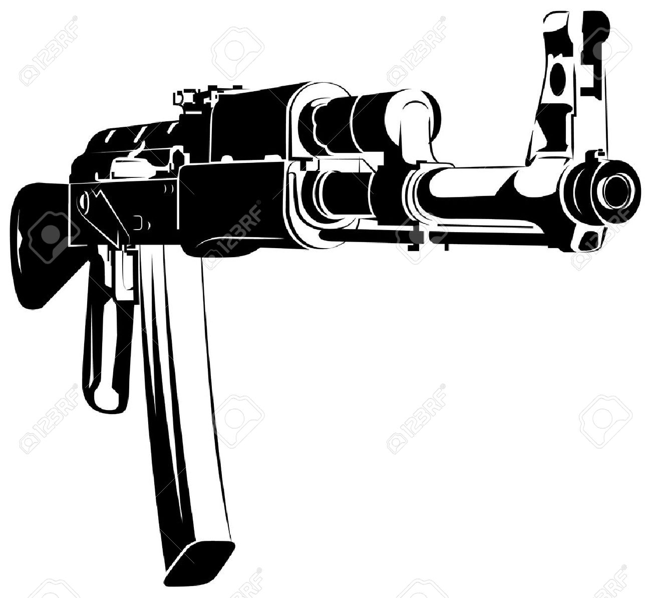 vector illustration black and white machine gun ak 47 isolated rh 123rf com ak 47 vector free ak 47 vector image