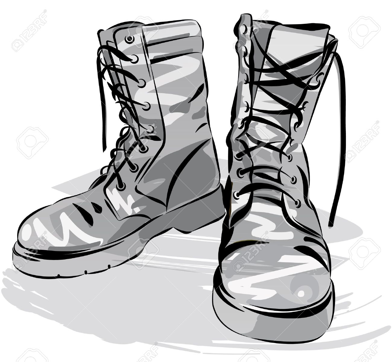Old army boots. Military leather worn boots. Vector graphic illustration - 59837222