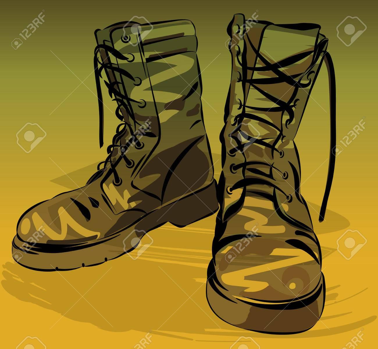 de Bottes l'armée bottes illustration graphique portéesVector Vieuxcuir militaire 8nXZN0wOkP
