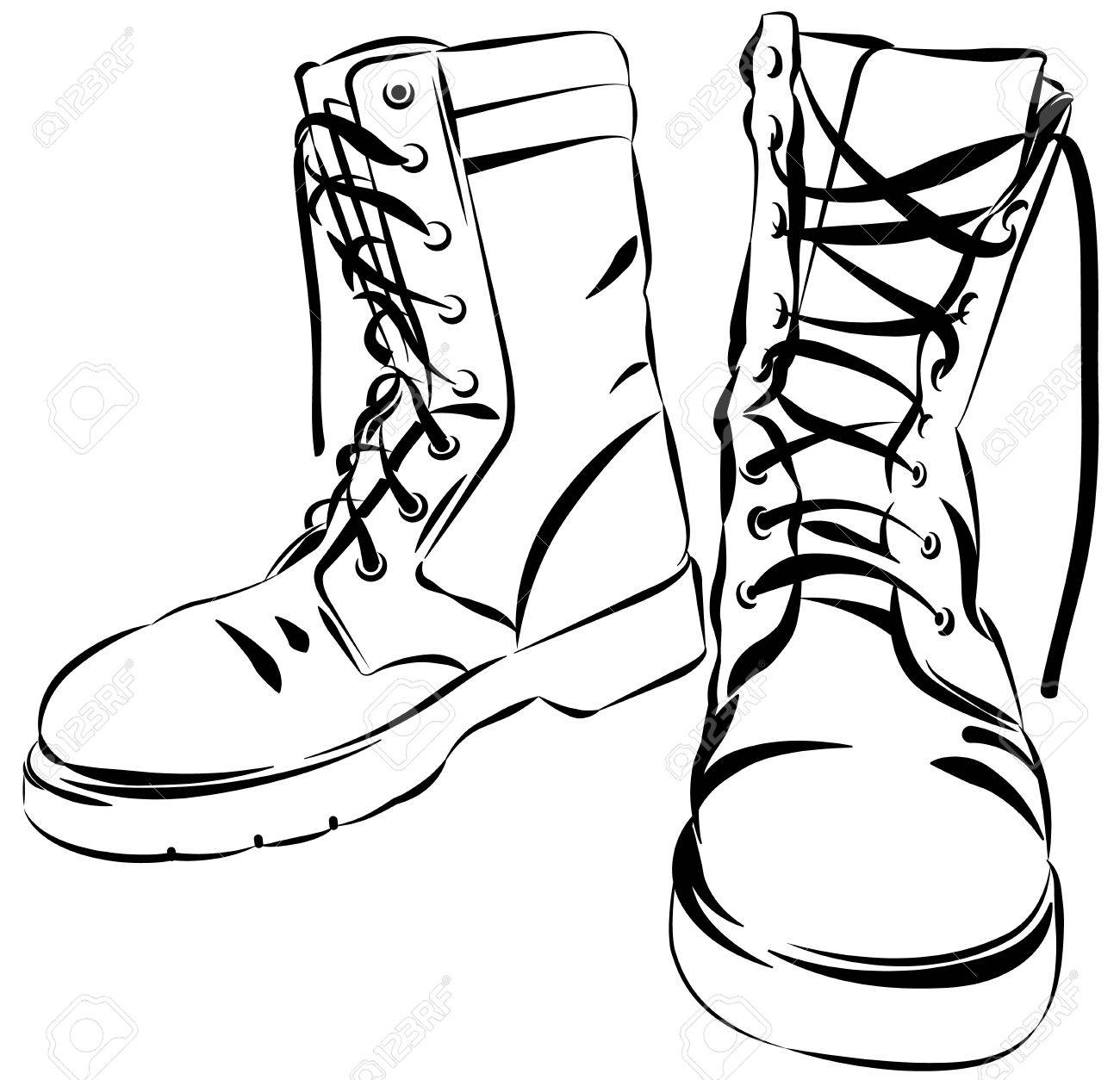 old army boots military leather worn boots vector graphic rh 123rf com Real Vector Graphics Scalable Vector Graphics