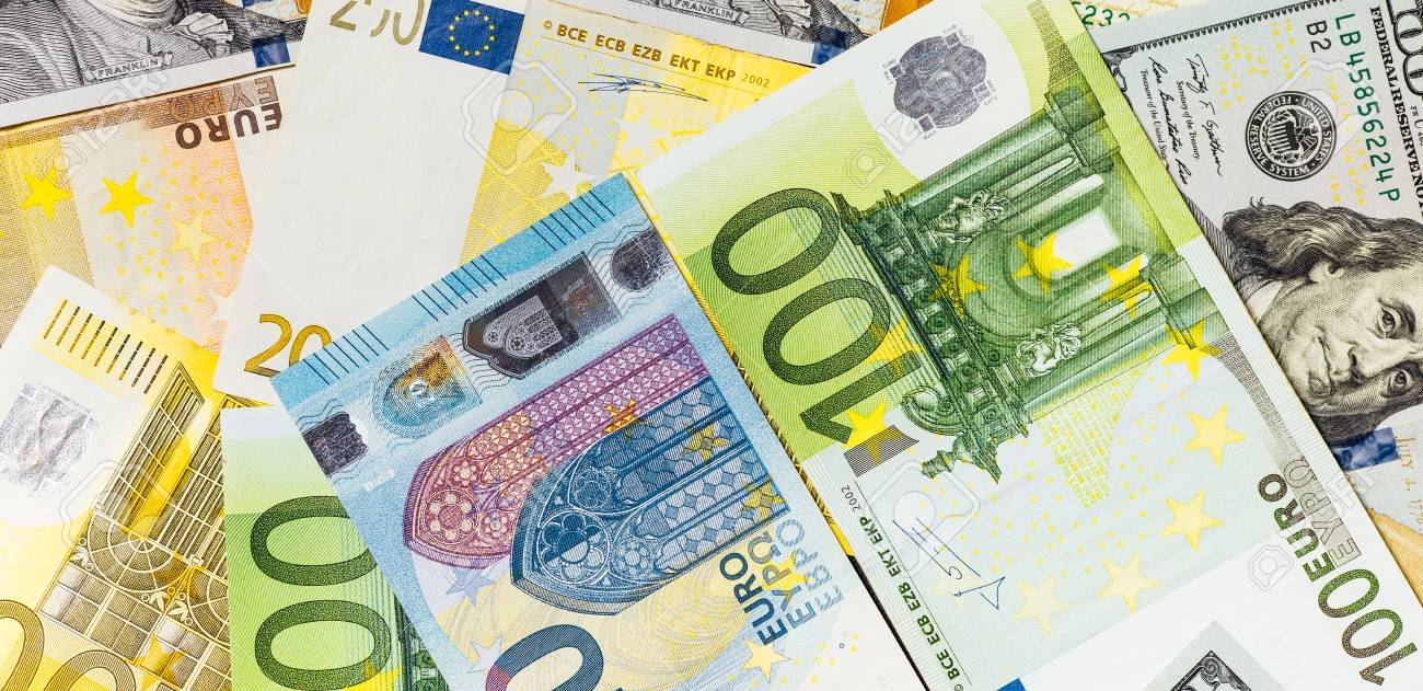 Close Up Of American Us Dollars And Euros Stock P O 96058455