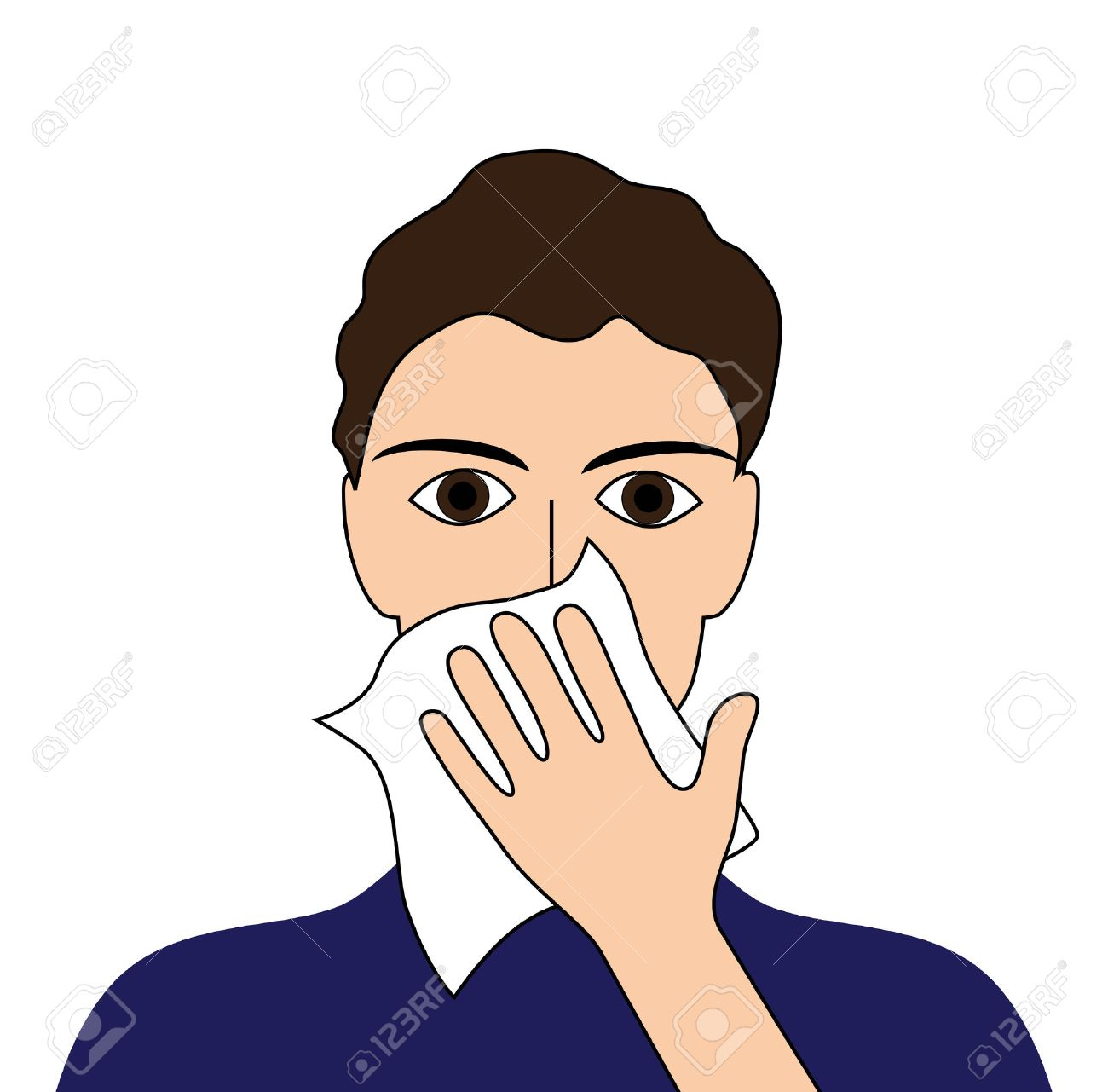 Cover your cough sick ill fever flu cold sneeze vomit disease people pictogram Stock Vector - 25749357