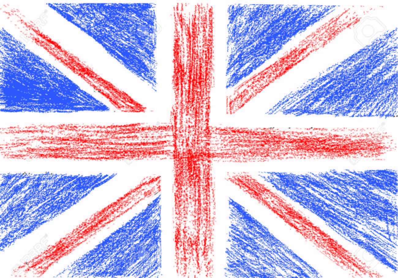Bandera De Reino Unido Dibujo A Lápiz Ilustración Vectorial
