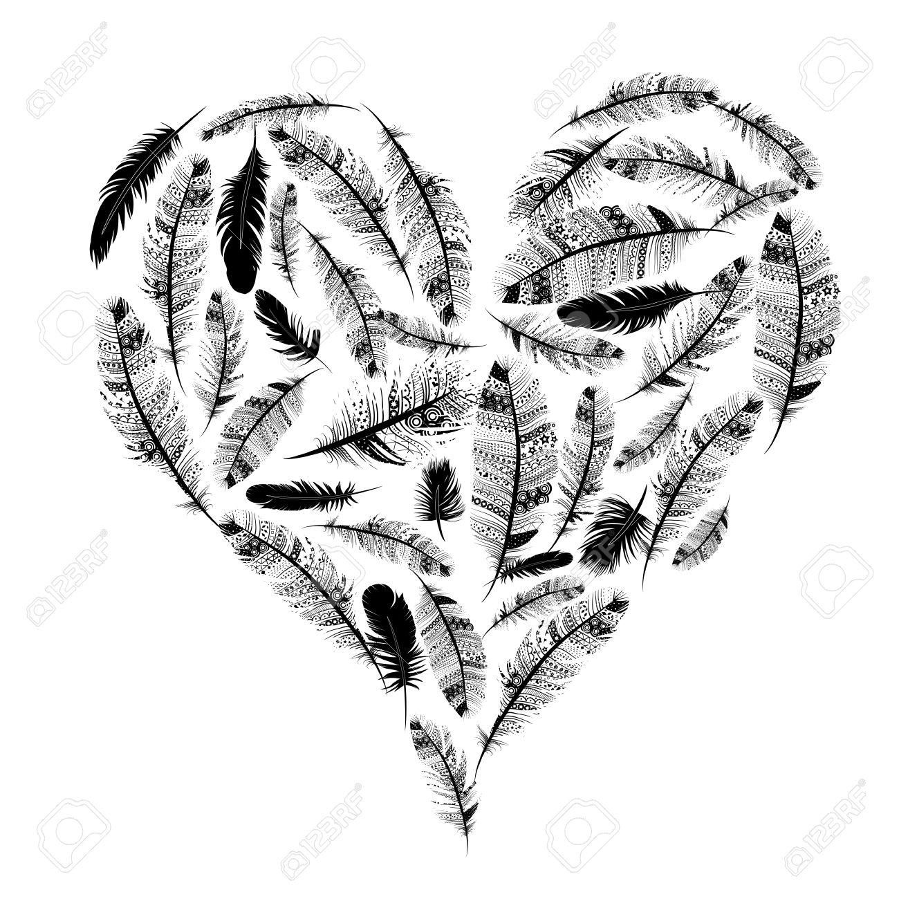 La Camiseta Del Corazón étnica Plumas Indias Día De San Valentín ...