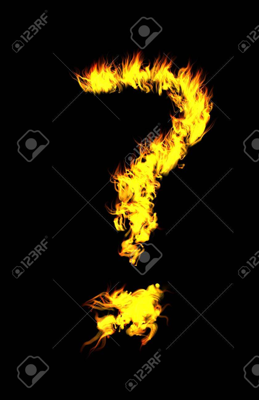 Computer generated flame question mark. Stock Photo - 403977