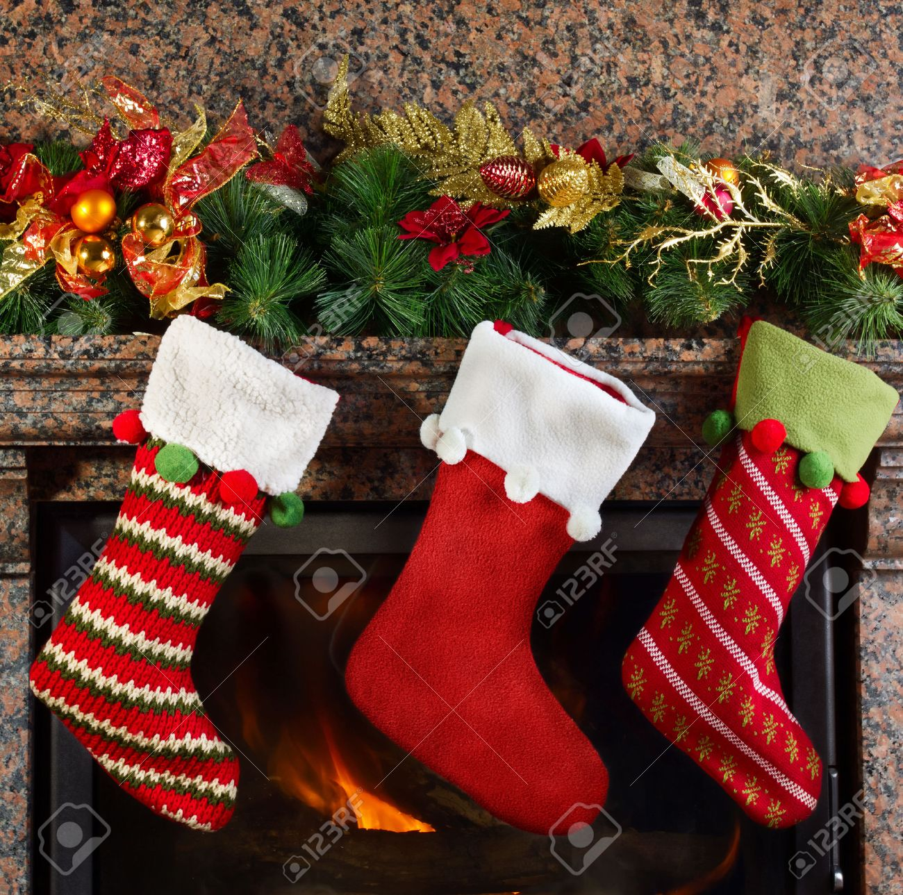 christmas stocking on fireplace background stock photo picture
