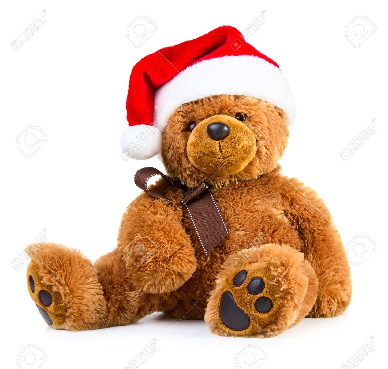 74b928343cd14 Stock Photo - Teddy bear wearing a santa hat isolated on white background