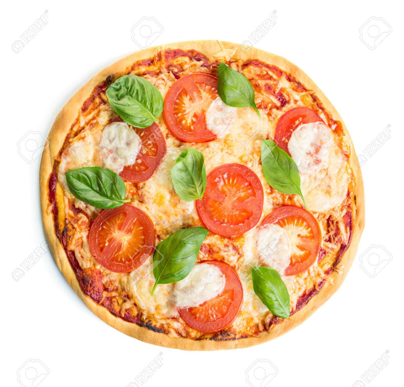 Margherita Pizza Isolated Over White Background Stock Photo