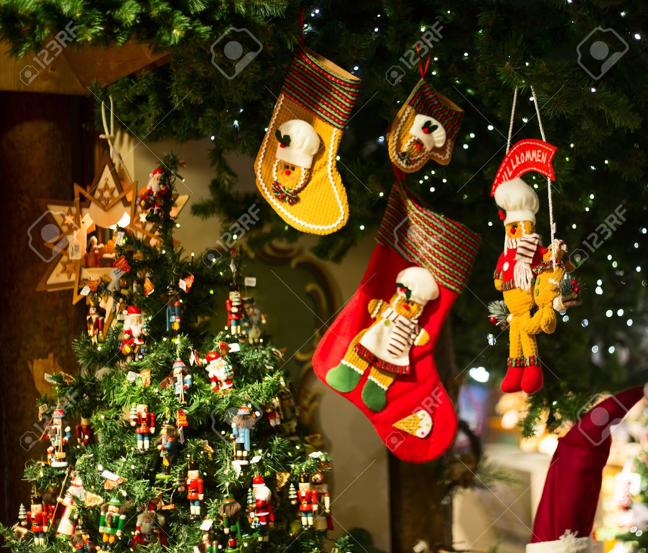 Christmas Decorations On The Market In Small European City Stock ...