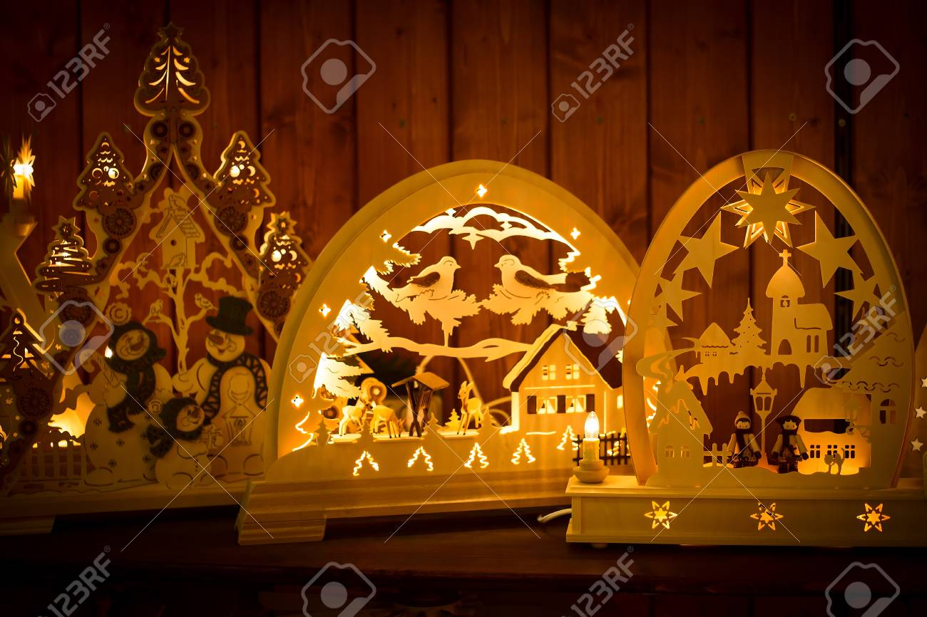 Wood Christmas Decorations.Wooden Christmas Decorations On Souvenir Shop Berlin Germany