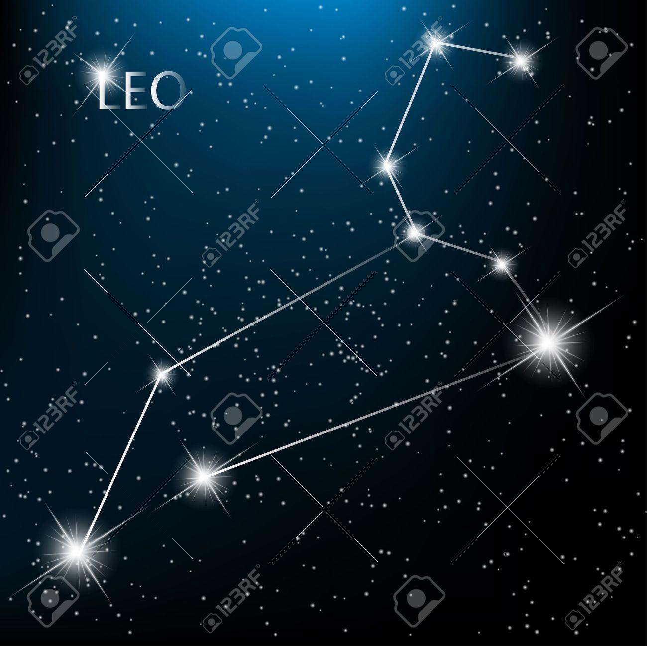 Leo Zodiac sign bright stars in cosmos. - 12495915