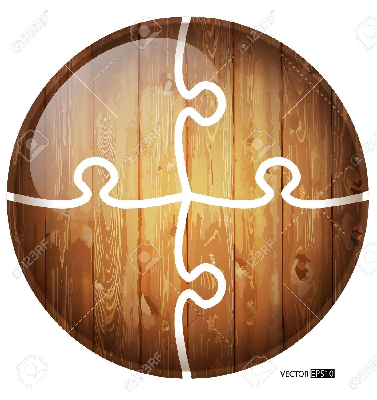 Puzzle circle wooden background Stock Vector - 17330874