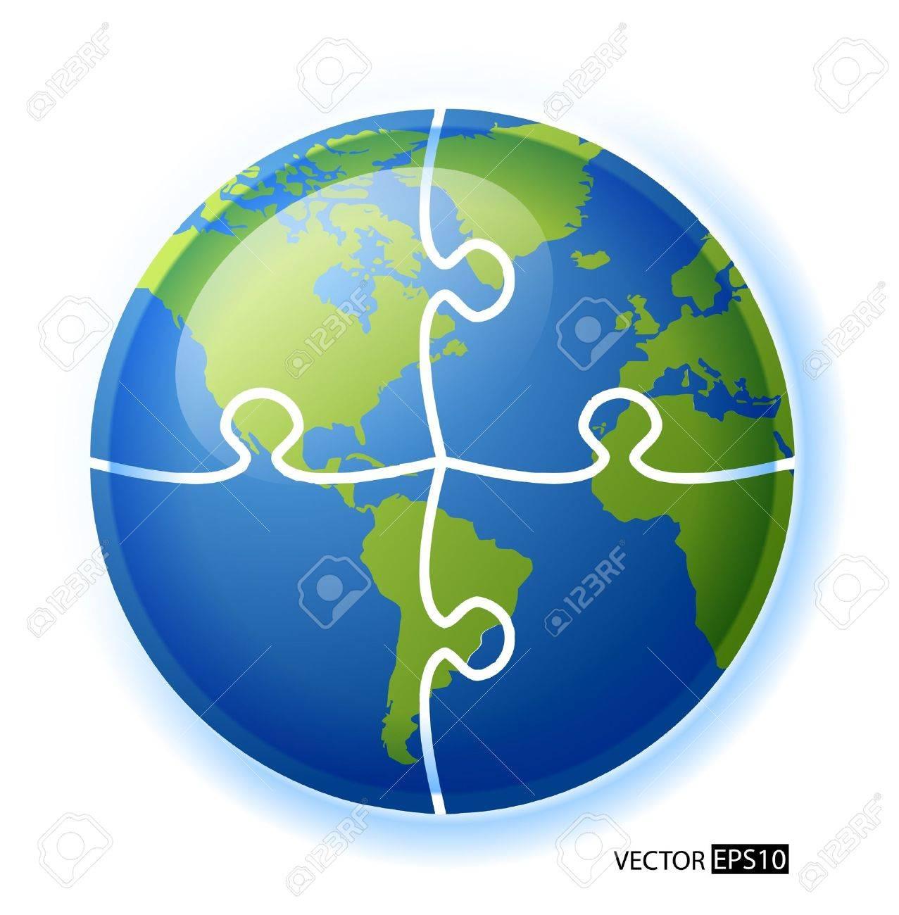 Puzzle circle globe Stock Vector - 17330850