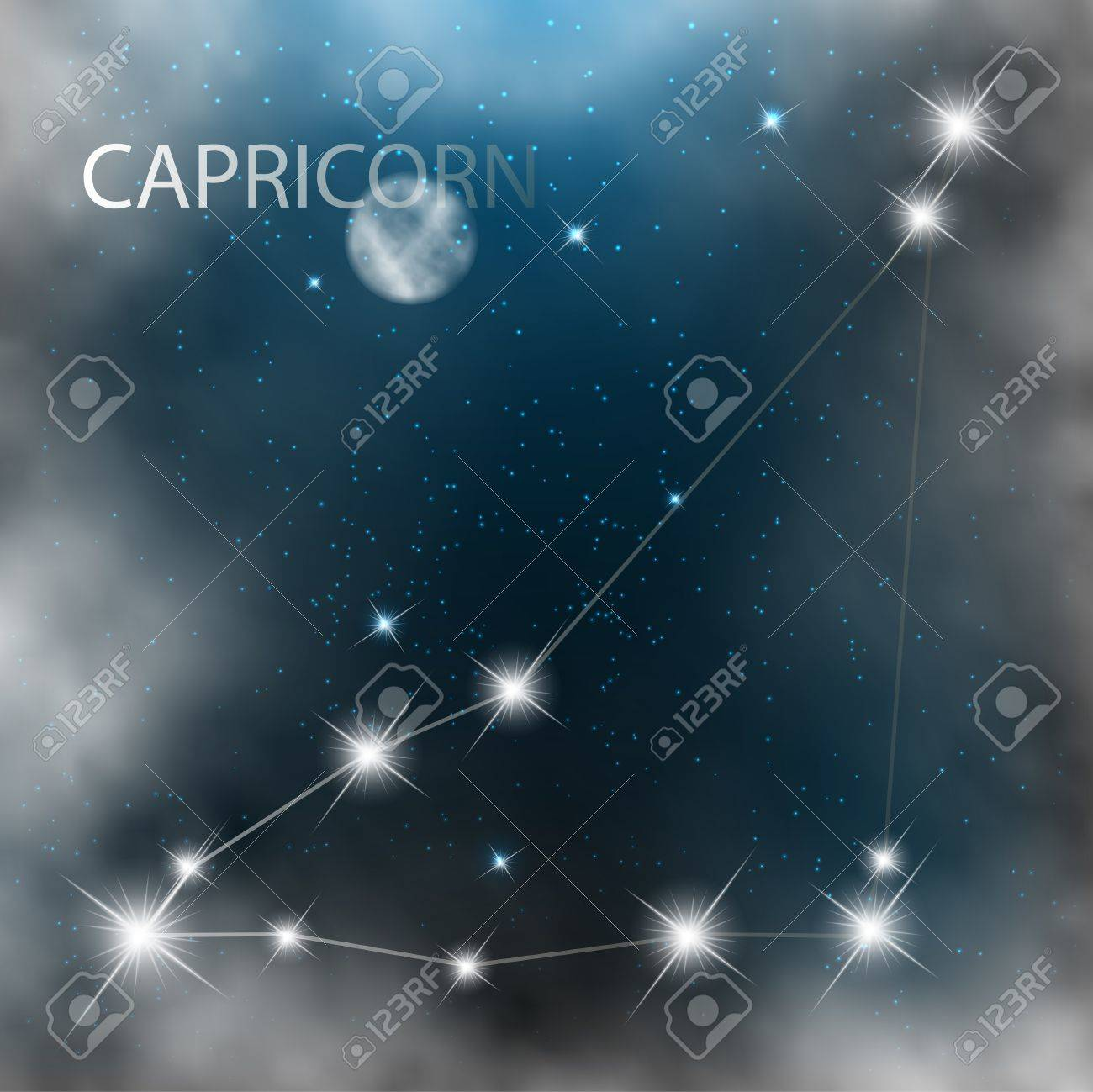 Capricorn  Zodiac sign bright stars in cosmos Stock Vector - 17559011