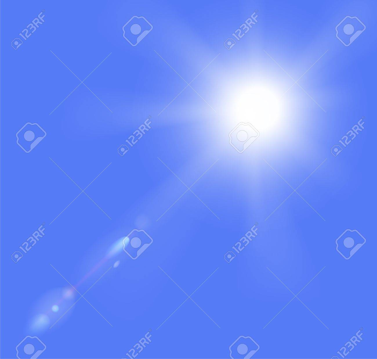 illustration of sun and clouds on a blue sky  Gradient mesh used Stock Vector - 17558865