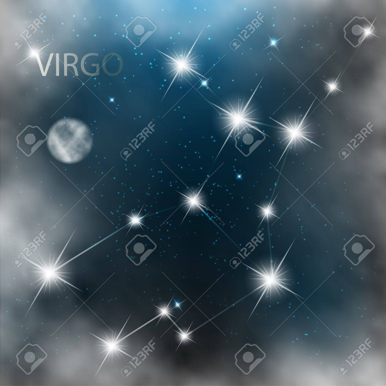 Constellation sign bright stars in cosmos with moon and clouds. Stock Vector - 17711161