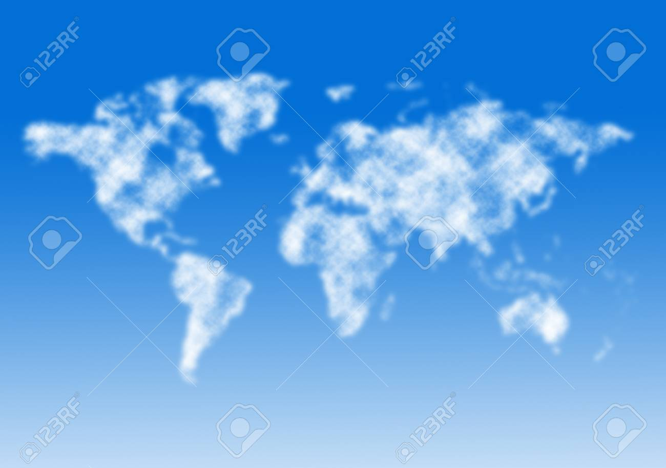 World map from clouds. Stock Photo - 17905391
