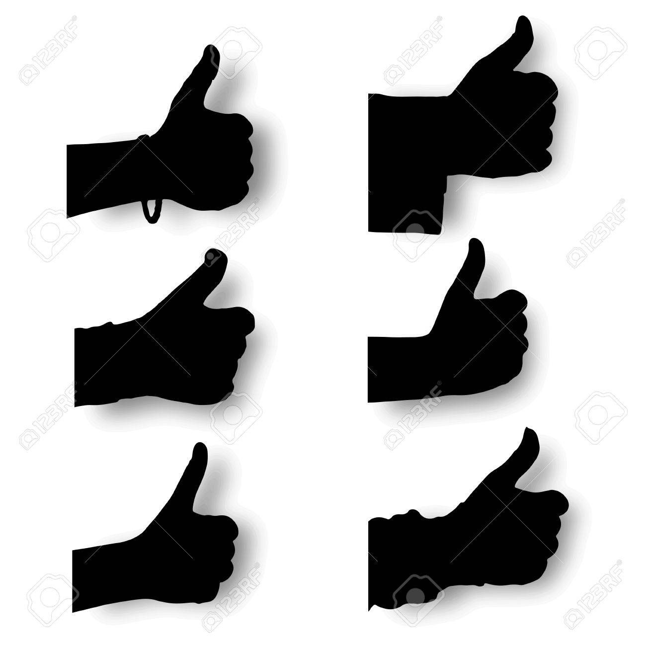 Vector set silhouette hands thump up,  Like  sign with smooth shadows, isolated on white background Stock Vector - 18366067