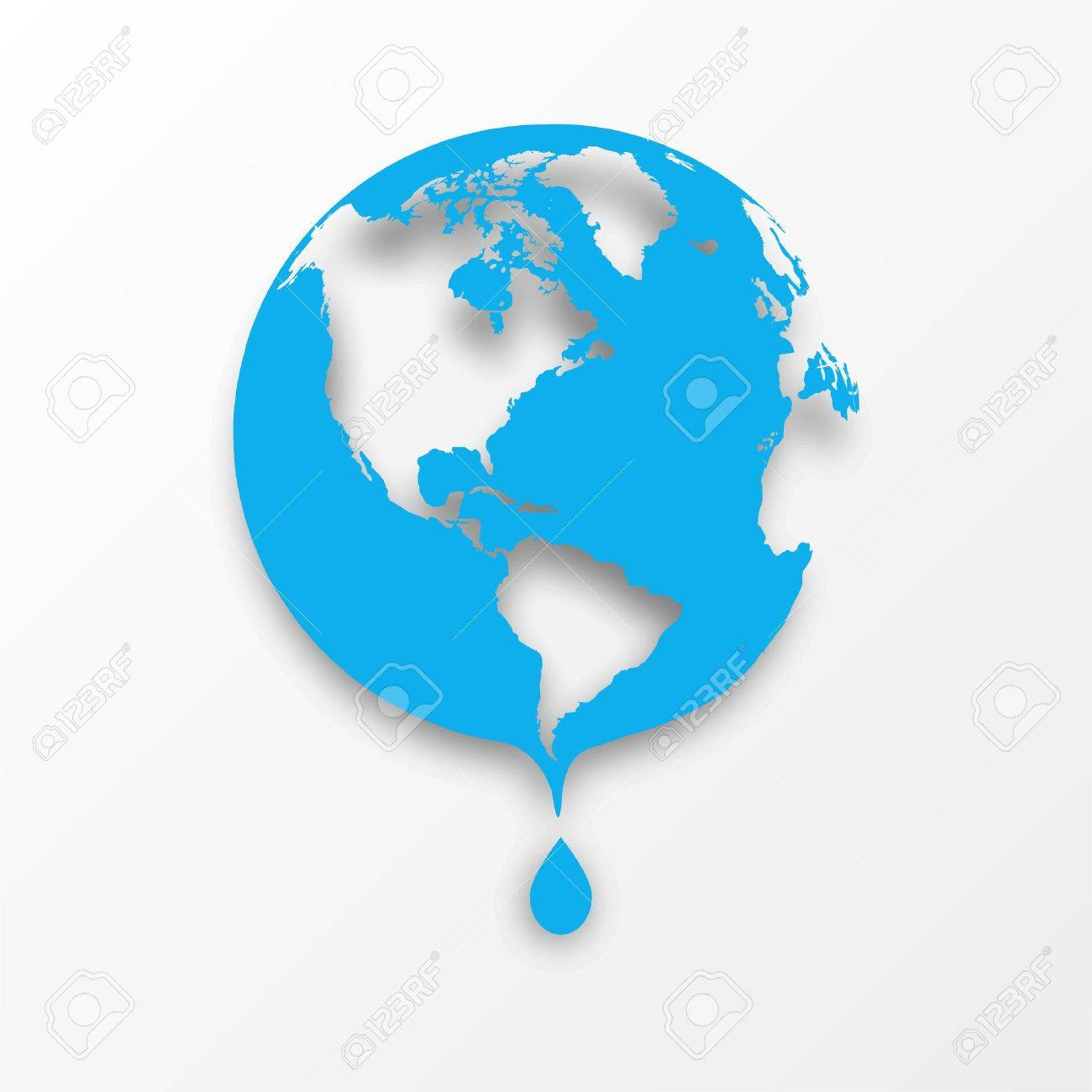 Vector blue earth globe with drop of water  Eco concept Stock Vector - 18366062