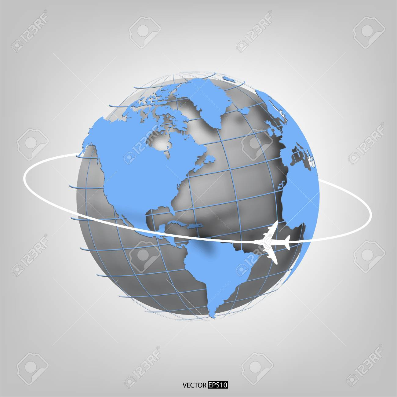 Business background with globe of the world and airplane  EPS10 vector illustration Stock Vector - 18366060
