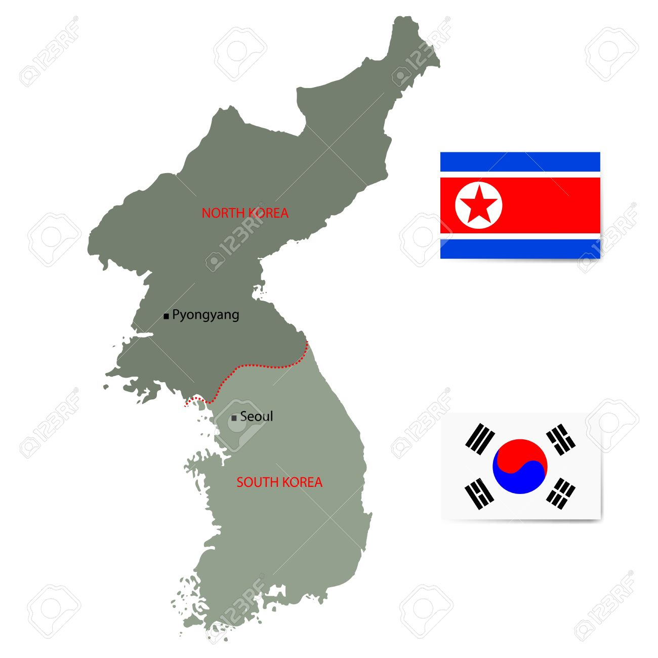 North And South Korea Map With Flags Isolated On White Background