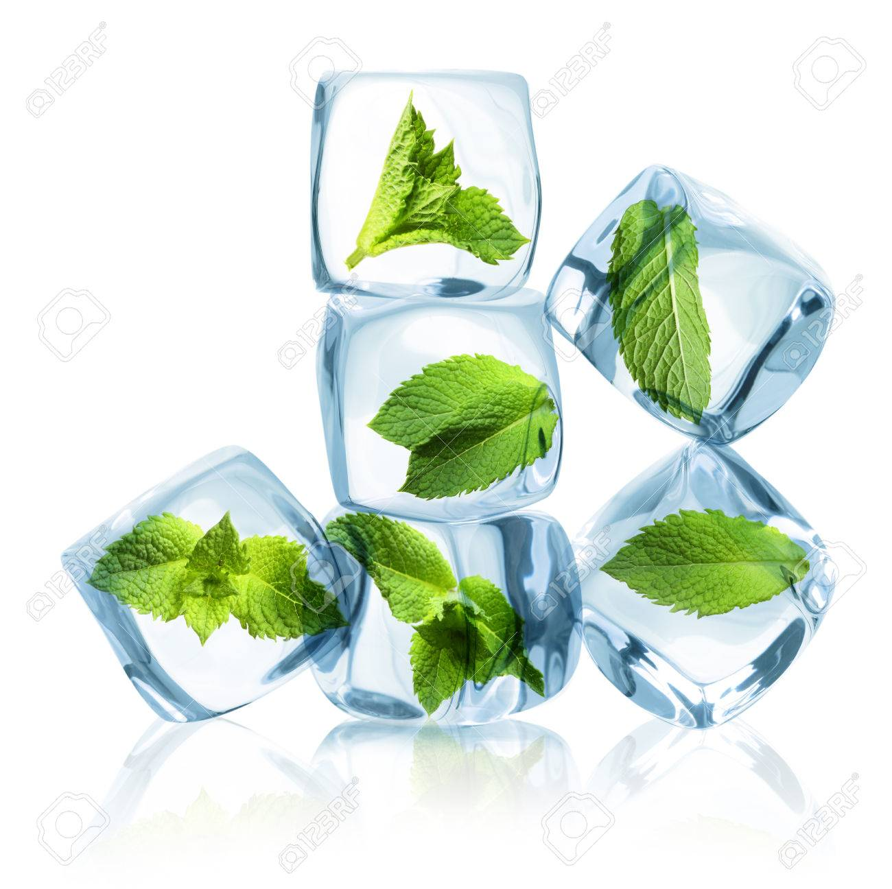 Ice cubes with green mint leaves isolated on white background. - 61201301