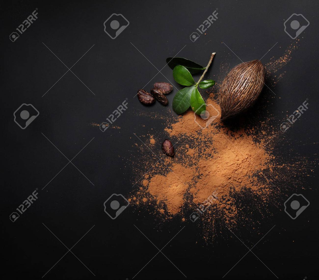 Cacao beans and powder on black background - 61262746
