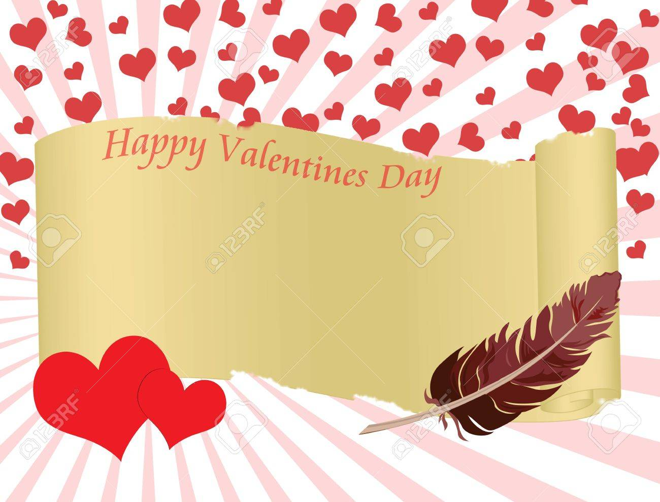 Valentines day background with folded parchment for your text Stock Vector - 17836298
