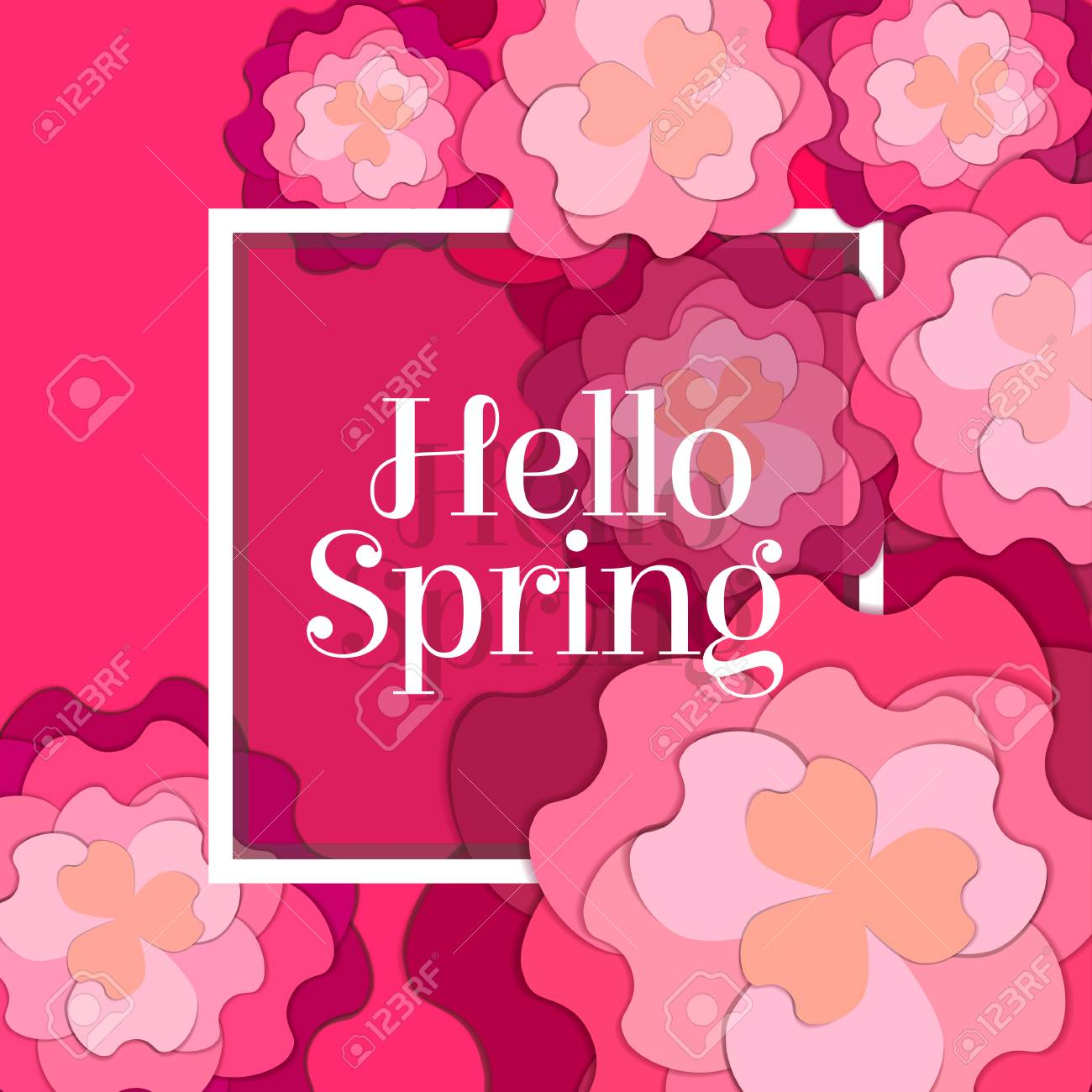 Hello Spring Poster With Paper Flowers Floral Postcard Or Banner