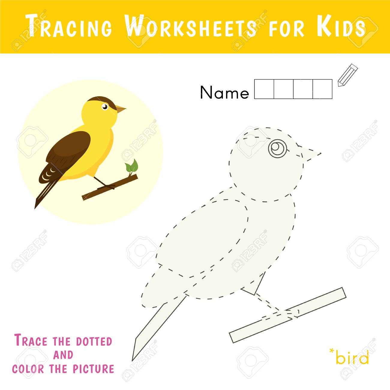 Tracing Worksheets For Kids. Educational Game For Preschool Children ...
