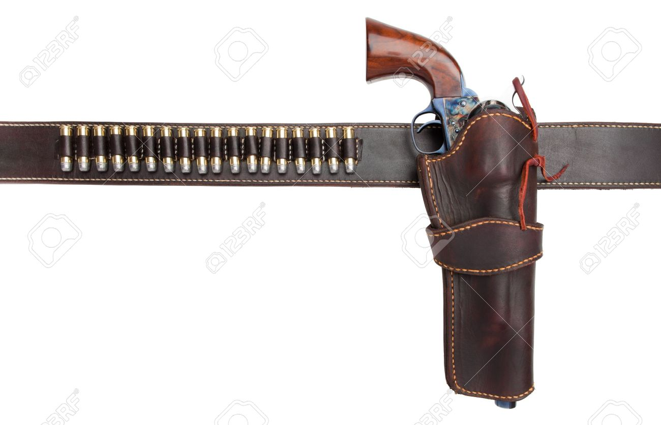 gun belt with holster and old revolver