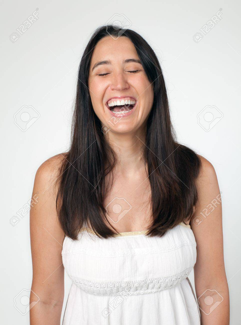 Woman laughing with eyes closed Stock Photo - 8628375