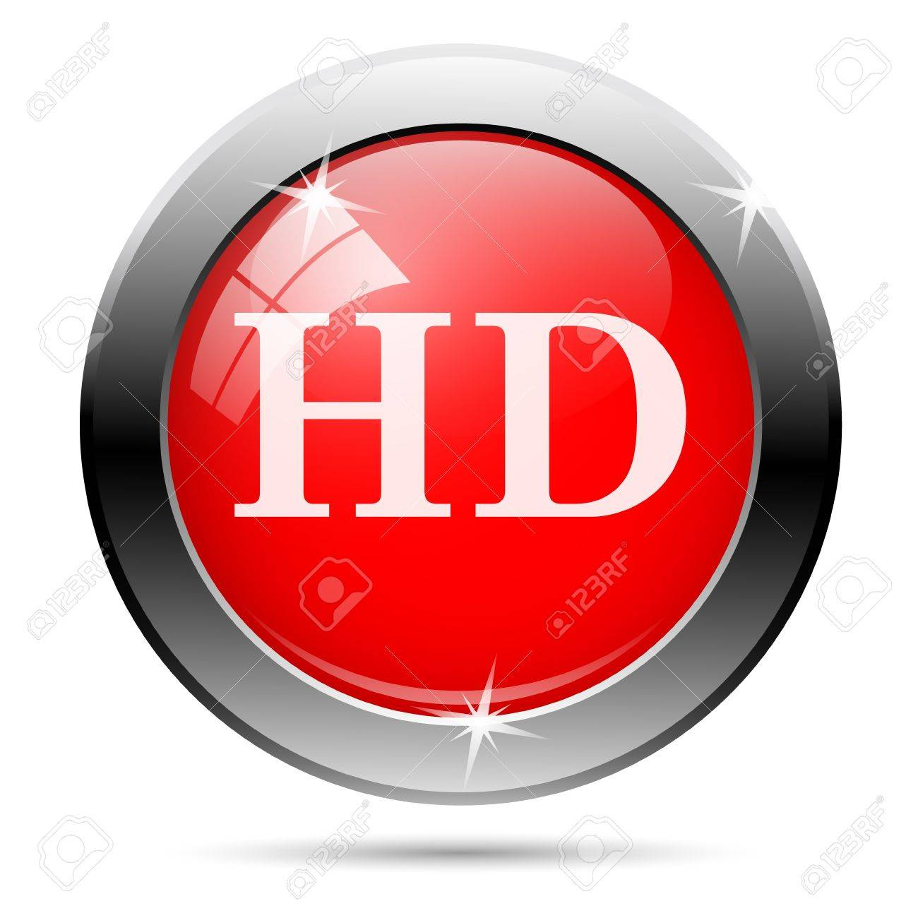 hd icon with white on red background Stock Photo - 19027249