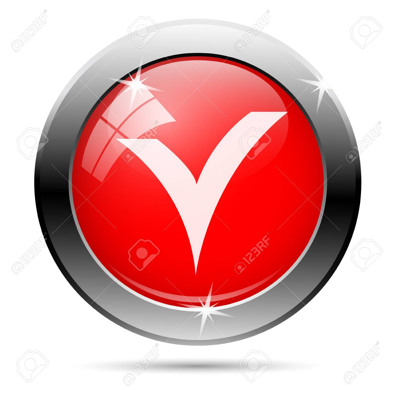 Checked icon with white on red background Stock Photo - 19492042