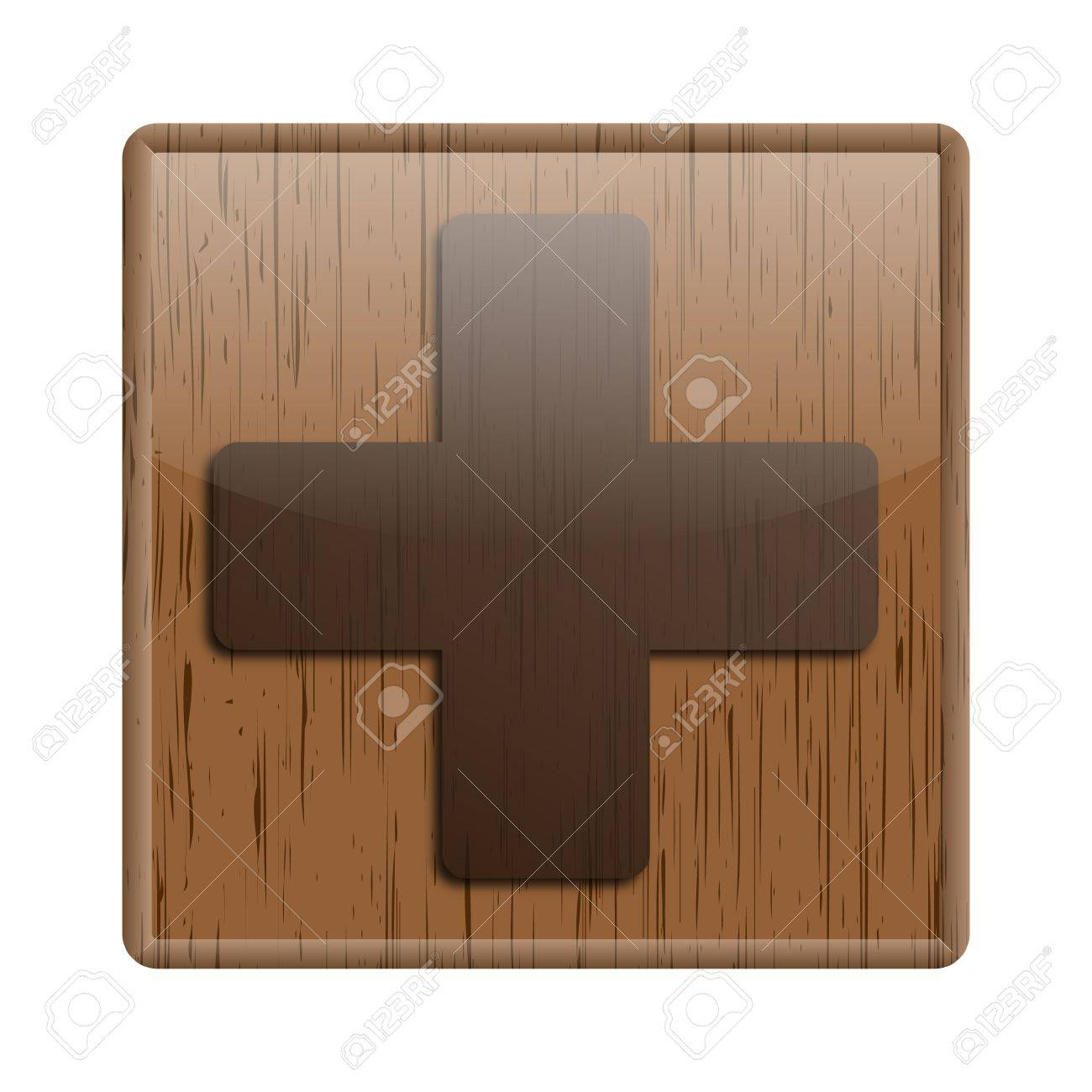 Shiny icon with brown design on wooden background Stock Photo - 20496972