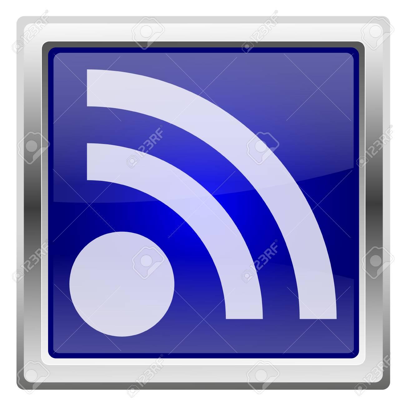 Metallic shiny icon with white design on blue background Stock Photo - 20547581