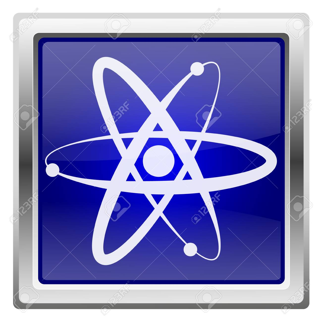 Metallic shiny icon with white design on blue background Stock Photo - 20609484